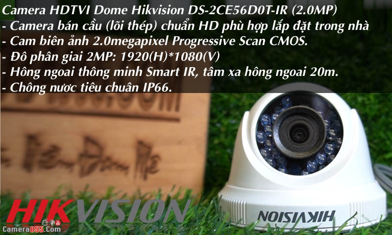 camera hdtvi dome hikvision ds 2ce56d0t ir